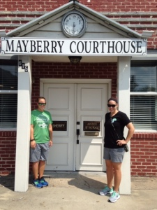 My sister Carolyn and I outside the mock Courthouse.